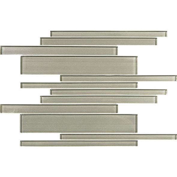 American Olean Entourage Silk Strands - SS05 Shantung - Metallic Random Linear Interlocking Glass Tile Mosaic - Glossy