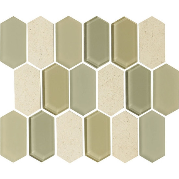 "American Olean Entourage Alair - AL15 Honey - 2"" X 4"" Long Hexagon Glass & Stone Mosaic Tile - $20.99"