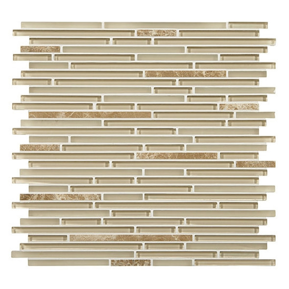 Supplier: American Olean, Series: Generations Glass, Name: GN02 Zenith, Type: Glass & Stone Tile Mosaic, Size: 3/8 X Random