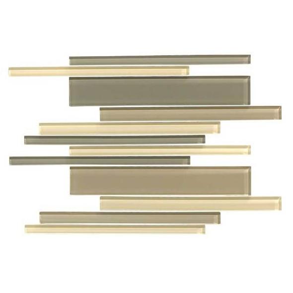 American Olean Color Appeal Glass Blends - C133 Sand Storm Blend - Random Interlocking Linear Glass Tile Mosaic - Glossy - Sample