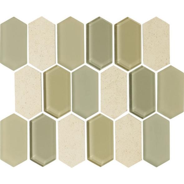 "American Olean Entourage Alair - AL15 Honey - 2"" X 4"" Long Hexagon Glass & Stone Mosaic Tile - Sample"