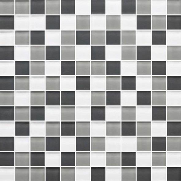 American Olean Color Appeal Glass Blends - C134 Silver Spring Blend - 1X1 Glass Tile Mosaic - Glossy - Sample
