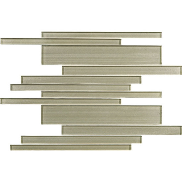 American Olean Entourage Silk Strands - SS06 Charmeuse - Metallic Random Linear Interlocking Glass Tile Mosaic - Glossy