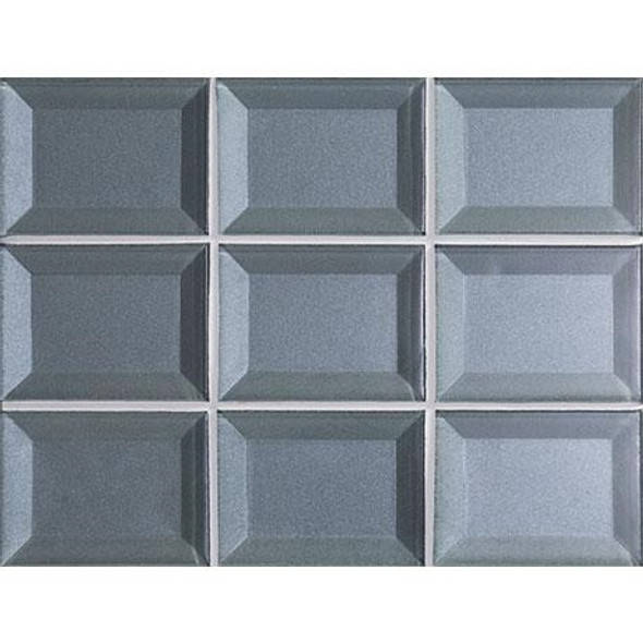 Marazzi - Luminescence LM12 Blue Patina - 3 X 4 Beveled Glass Mosaic - Sample