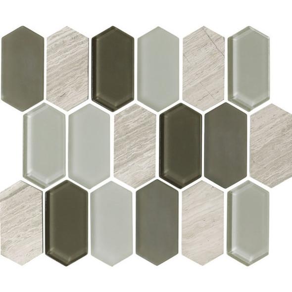 "American Olean Entourage Alair - AL16 Dove - 2"" X 4"" Long Hexagon Glass & Stone Mosaic Tile - Sample"