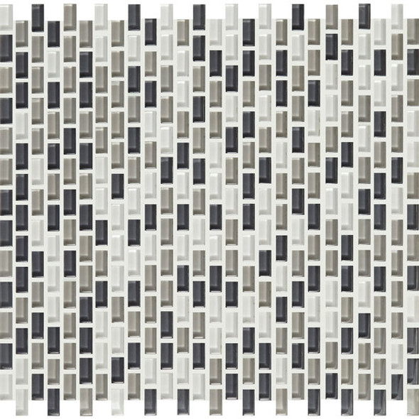American Olean Color Appeal Renewal Entourage - Chain Link - C134 Silver Spring Blend - Micro Brick Glass Mosaic Tile - Sample