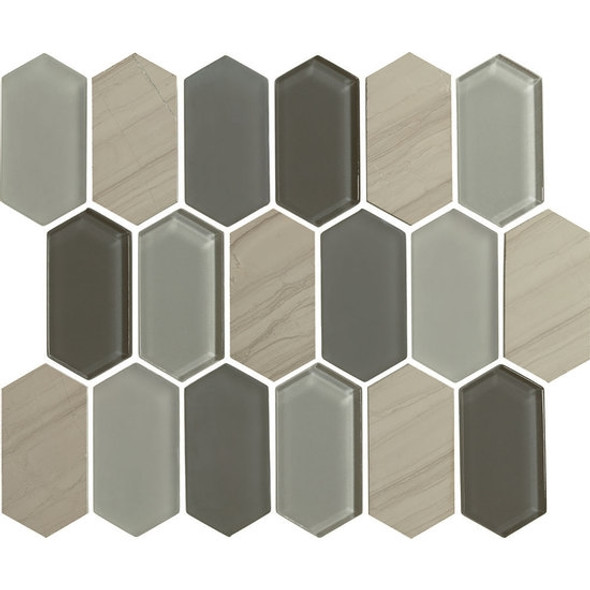 "American Olean Entourage Alair - AL17 Slate - 2"" X 4"" Long Hexagon Glass & Stone Mosaic Tile - $20.99"