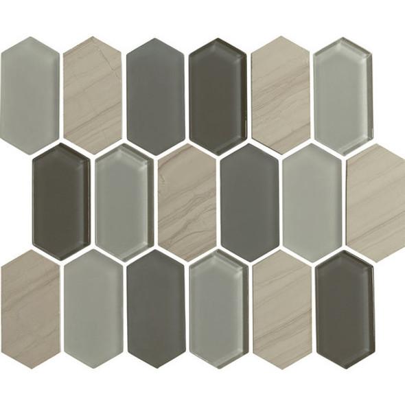 "American Olean Entourage Alair - AL17 Slate - 2"" X 4"" Long Hexagon Glass & Stone Mosaic Tile - $20.99"