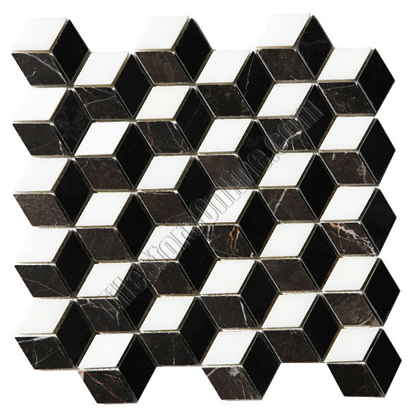 Illusion Marble Mosaic Tile - 3D Step Cube Pattern Mosaic with Black, White, and Brown Marble - Polished * SAMPLE *
