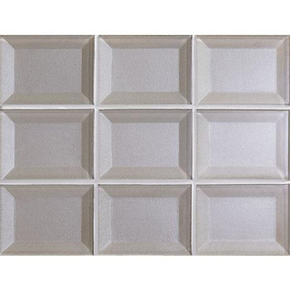 Marazzi - Luminescence LM13 Silver - 3 X 4 Beveled Glass Mosaic - Sample