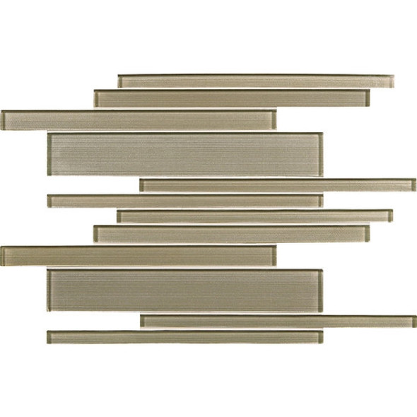 American Olean Entourage Silk Strands - SS07 Organza - Metallic Random Linear Interlocking Glass Tile Mosaic - Glossy