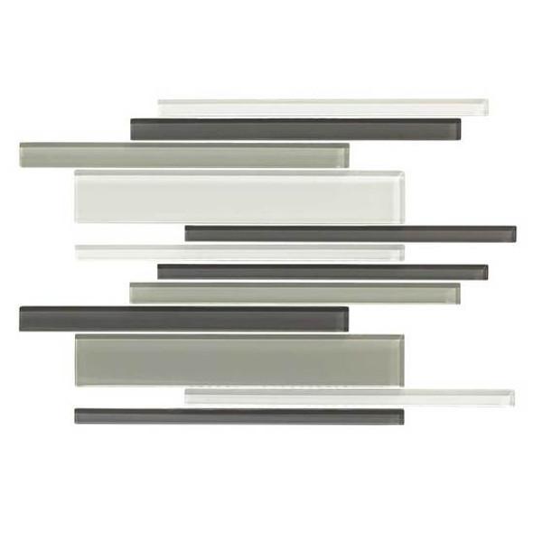 American Olean Color Appeal Glass Blends - C134 Silver Spring Blend - Random Interlocking Linear Glass Tile Mosaic - Glossy - Sample