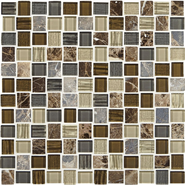 American Olean Entourage Marble Weave - MW08 Great Wall Blend - 1 X 1 Weave Offset Glass & Stone Mosaic Tile - Sample