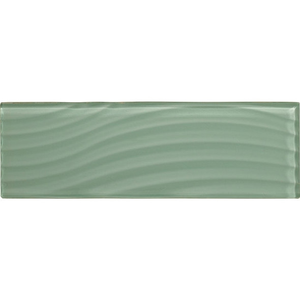 American Olean Color Appeal Entourage Abstracts Glass - C107 Vintage Mint - 4X12 Wavy Subway Glass Tile Plank - Glossy - Sample