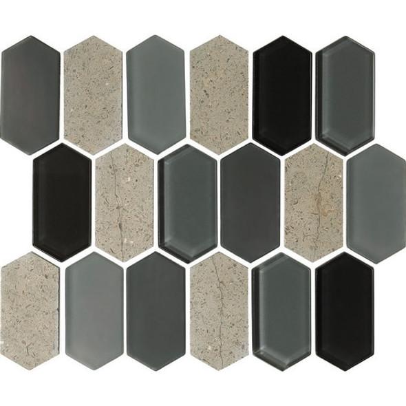 "American Olean Entourage Alair - AL18 Smoke - 2"" X 4"" Long Hexagon Glass & Stone Mosaic Tile - $20.99"