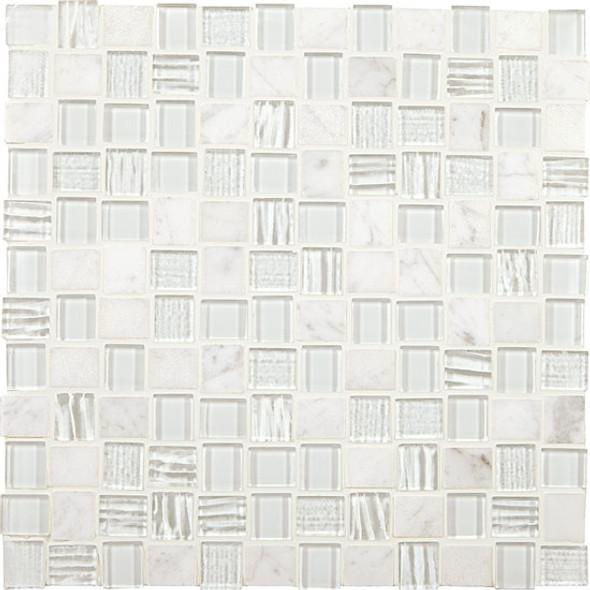 "Supplier: American Olean, Series: Entourage Marble Weave, Name: MW09 White Wonder, Type: Glass & Stone MosaicTile, Size: 1"" X 1"""