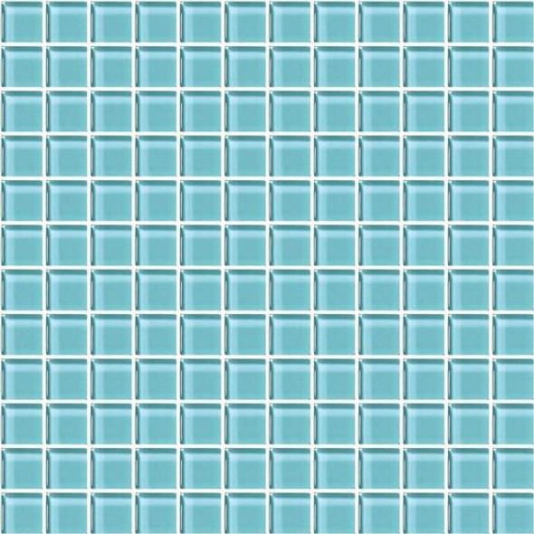 American Olean Color Appeal Glass - C108 Fountain Blue - 1X1 Glass Tile Mosaic - Glossy - Sample