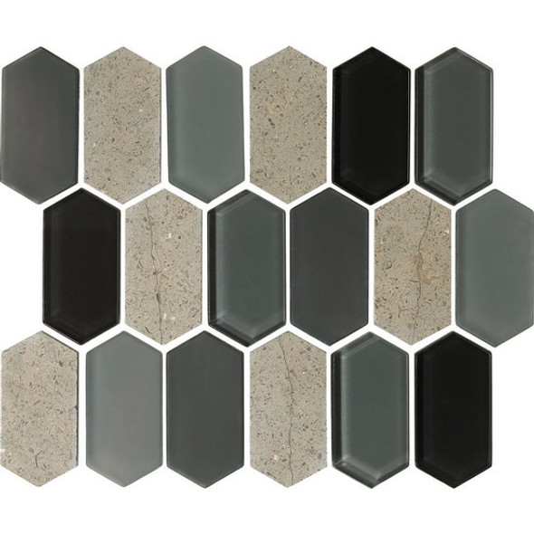 "American Olean Entourage Alair - AL18 Smoke - 2"" X 4"" Long Hexagon Glass & Stone Mosaic Tile - Sample"