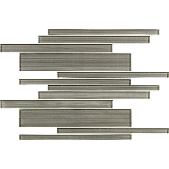 American Olean Entourage Silk Strands - SS08 Georgette - Metallic Random Linear Interlocking Glass Tile Mosaic - Glossy