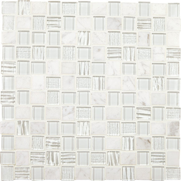 American Olean Entourage Marble Weave - MW09 White Wonder Blend - 1 X 1 Weave Offset Glass & Stone Mosaic Tile - Sample