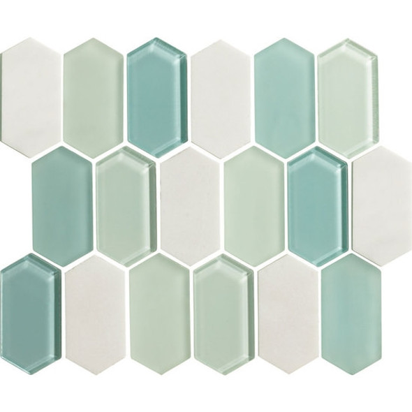 "American Olean Entourage Alair - AL19 Mint - 2"" X 4"" Long Hexagon Glass & Stone Mosaic Tile - $20.99"