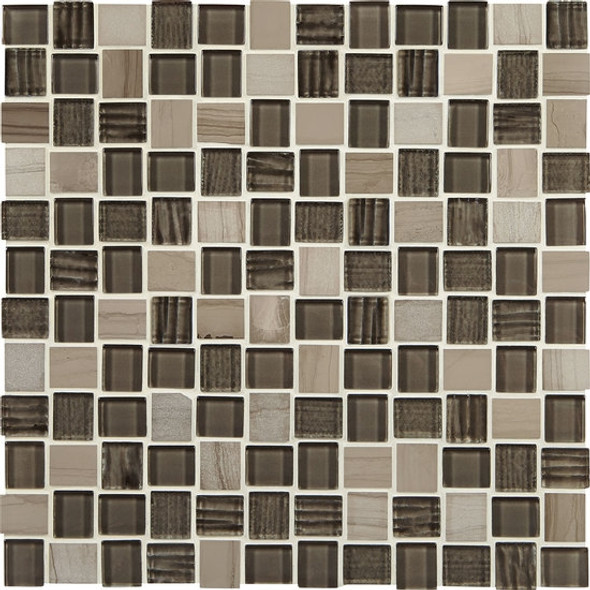"Supplier: American Olean, Series: Entourage Marble Weave, Name: MW10 Machu Picchu, Type: Glass & Stone MosaicTile, Size: 1"" X 1"""