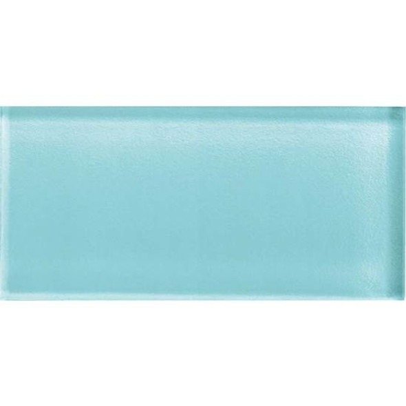 American Olean Color Appeal Glass - C108 Fountain Blue - 3X6 Brick Subway Glass Tile - Glossy - Sample