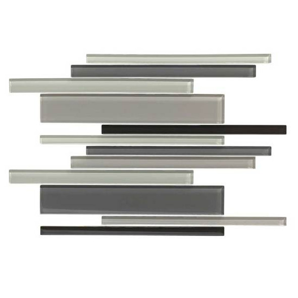 American Olean Color Appeal Glass Blends - C135 Midnight Sky Blend - Random Interlocking Linear Glass Tile Mosaic - Glossy - Sample