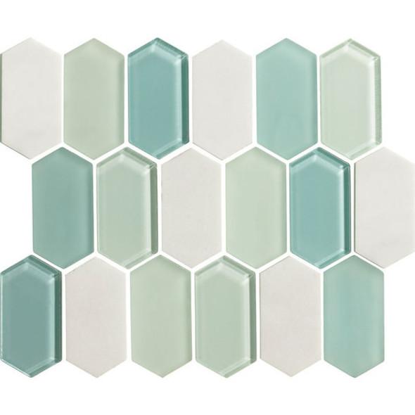 "American Olean Entourage Alair - AL19 Mint - 2"" X 4"" Long Hexagon Glass & Stone Mosaic Tile - Sample"