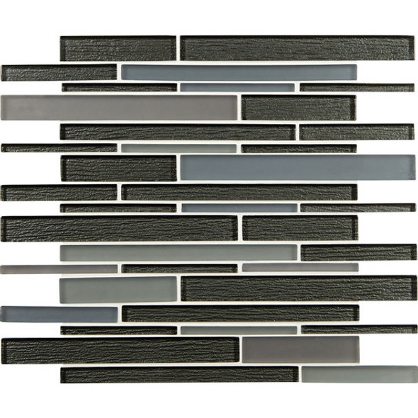 American Olean Entourage Strategies - ST73 Metal Method - Structured Railroad Interlocking Glass Tile Mosaic - Glossy