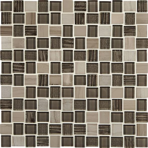 American Olean Entourage Marble Weave - MW10 Machu Picchu Blend - 1 X 1 Weave Offset Glass & Stone Mosaic Tile - Sample