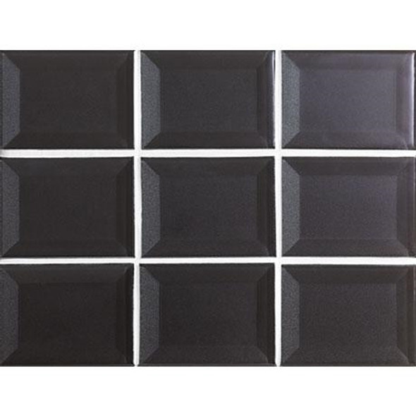 Marazzi - Luminescence LM15 Charcoal - 3 X 4 Beveled Glass Mosaic - Sample