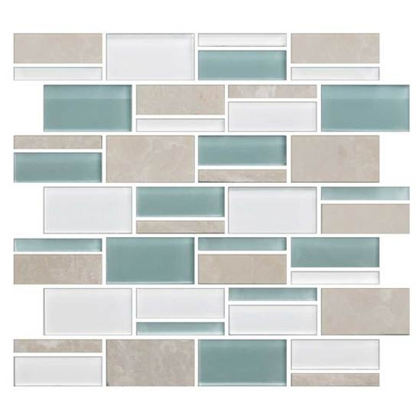"American Olean Color Appeal Blends - C136 Pacific Coast Blend - 3"" X Random Interlocking Glass & Stone Mosaic Tile - Sample"