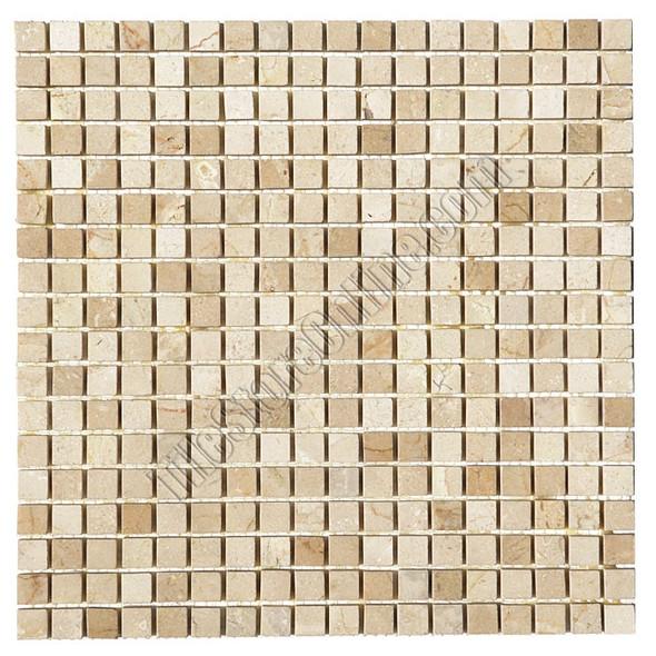 Type: Stone Mosaic, Series: Polished Mini Square Marble Mosaic, Color: Crema Marfil, Category: Natural Stone Mosaics, Size: 5/8 X 5/8