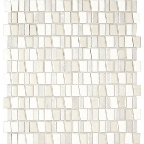 "Marazzi Midpark Mosaics - MP07 Cloud - 1"" X Random Trapezoid Interlocking Glazed Porcelain & Stone Mosaic Tile - Sample"