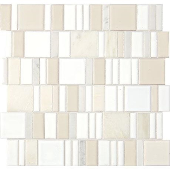 "Marazzi Midpark Mosaics - MP07 Cloud - 2"" X Random Square Interlocking Glazed Porcelain & Stone Mosaic Tile - Sample"