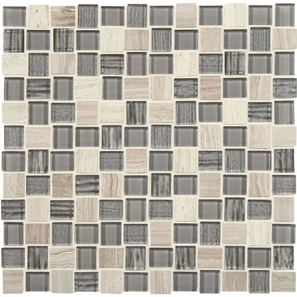 American Olean Entourage Marble Weave - MW11 Catacombs Blend - 1 X 1 Weave Offset Glass & Stone Mosaic Tile - Sample