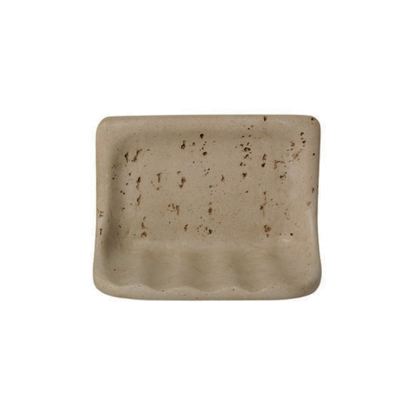 Manufacturer: American Olean, Item: BA725 Soap Dish, Color: Noce Travertine, Series: Resin FauxStone Bath Accessory