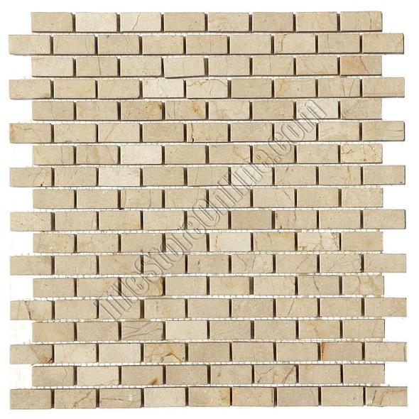 Type: Stone Mosaic, Series: Polished Mini Brick Marble Mosaic, Color: Crema Marfil, Category: Natural Stone Mosaics, Size: 5/8 X 1 1/4