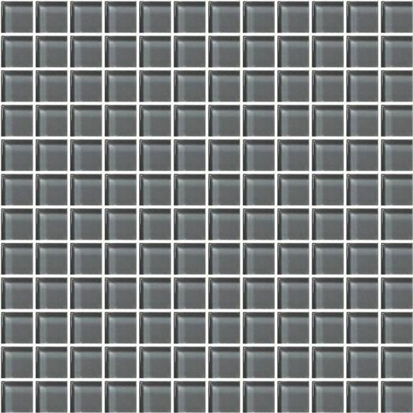 American Olean Color Appeal Glass - C121 Charcoal Gray - 1X1 Glass Tile Mosaic - Glossy - Sample
