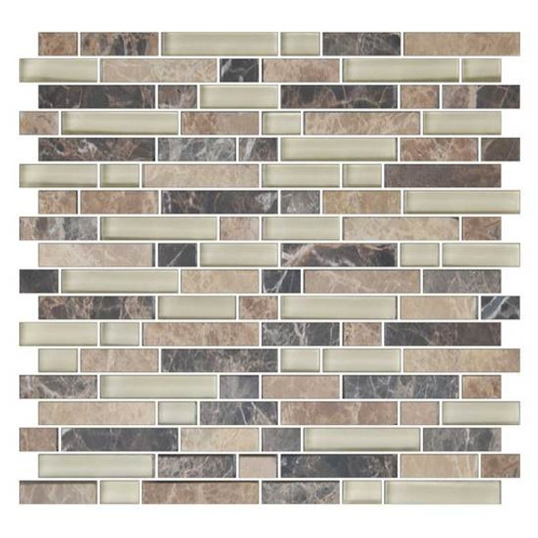 American Olean Color Appeal Blends - C137 Pebble Beach Blend - 5/8 X Random Linear Interlocking Glass & Stone Mosaic Tile - Glossy - Sample