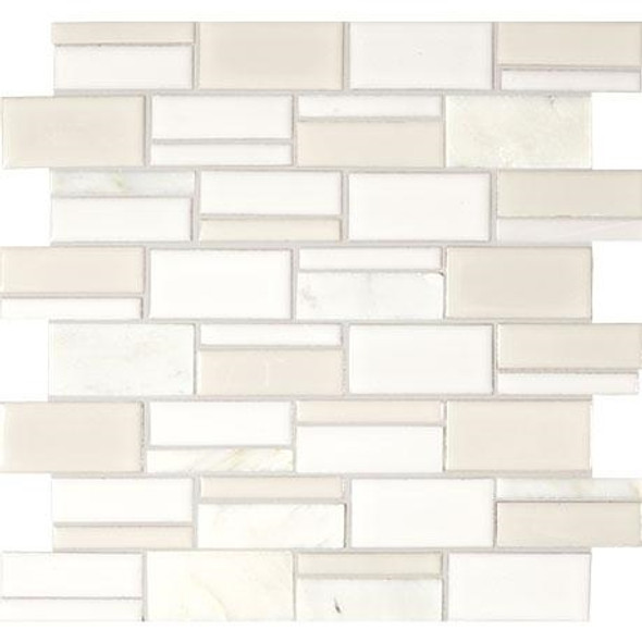 "Marazzi Midpark Mosaics - MP07 Cloud - 3"" X Random Rectangle Interlocking Glazed Porcelain & Stone Mosaic Tile - Sample"