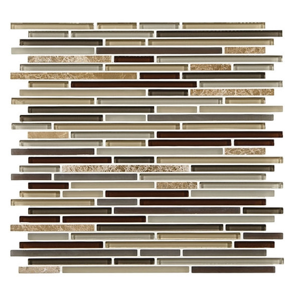 American Olean Entourage Generations Glass - GN07 Passages - 3/8 X Random Linear Mini Brick Stick Subway Glass & Stone Mosaic - Sample