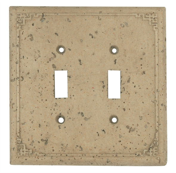 Resin Travertine Faux Stone Wall Switch Plate Outlet Cover - Double Toggle Switch - Geometric - Dark Travertine Color - $6.99