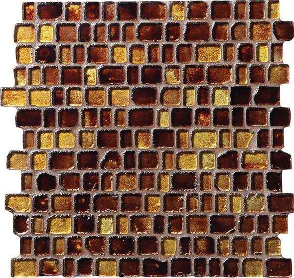 Daltile Fanfare Jewel Tide Glass Mosaic - JT05 Amber Wave - 3/4 X Random Tumbled Glossy Sea Glass Style - Sample