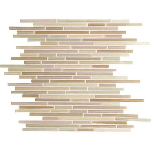 Daltile Caprice Glass Mosaic - F170 Vanilla Blend - 5/16 X Random Linear Glass Tile Mosaic * SAMPLE *