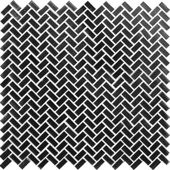 American Olean Entourage Novelty Glass - NV94 Onyx - Herringbone Glass Tile Mosaic - $12.99