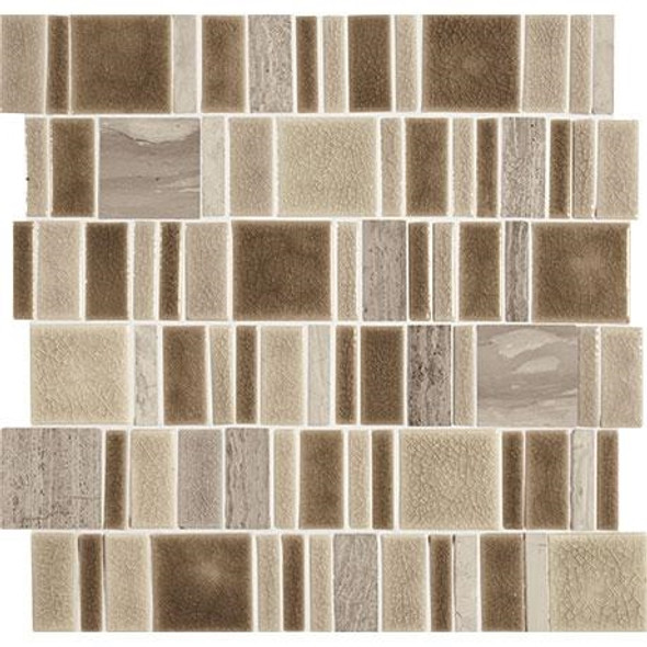 "Marazzi Midpark Mosaics - MP08 Sandbox - 2"" X Random Square Interlocking Crackle Glazed Porcelain & Stone Mosaic Tile - Sample"