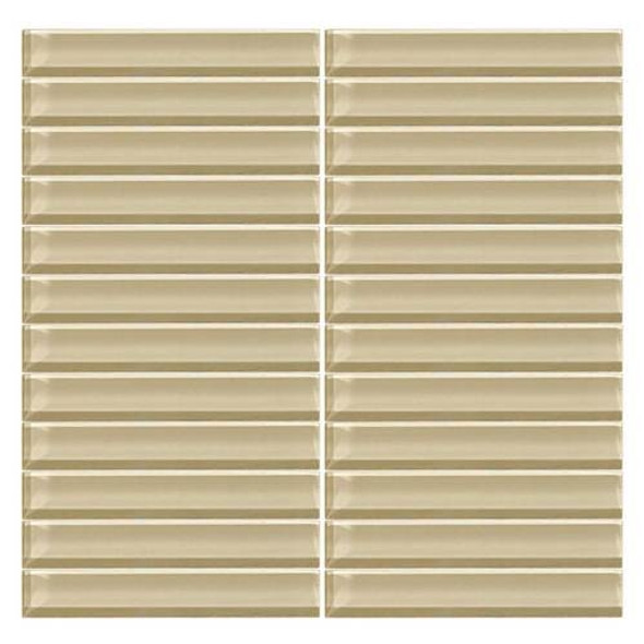 Supplier: Daltile, Series: Color Wave, Name: CW06 Tango Tan - Glossy, Color: White, Category: Glass Tile, Size: 1 X 6