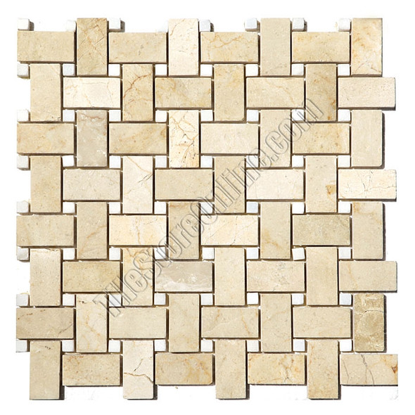 Basketweave Marble Mosaic Tile - Crema Marfil Basket Weave with White Marble Dot Mosaic - Polished * SAMPLE *